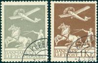 Danmark gammel luftpost 50 øre og 1 kr. stemplet