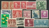 Sverige - 16 Bedre frimærker - Postfrisk