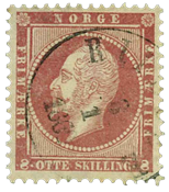 Norway 1856 - AFA no. 5 cancelled