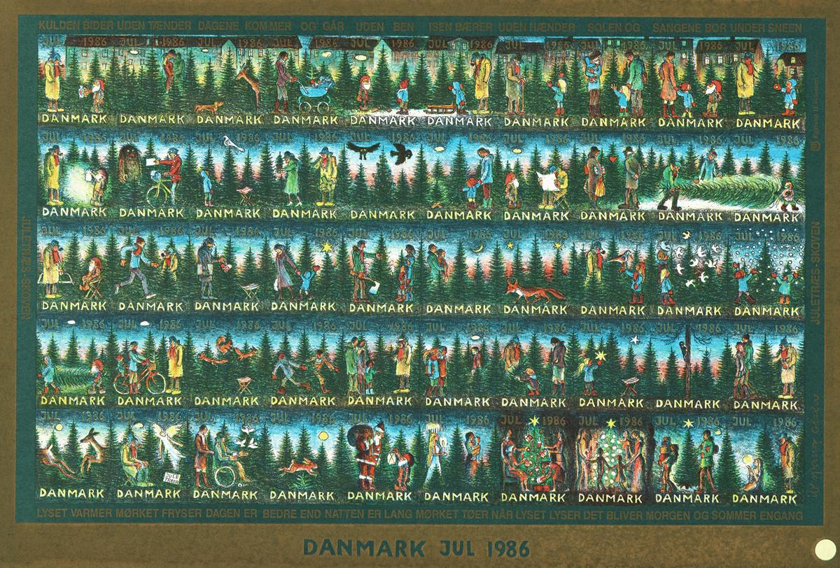 Danmark juleark 1986 utakket