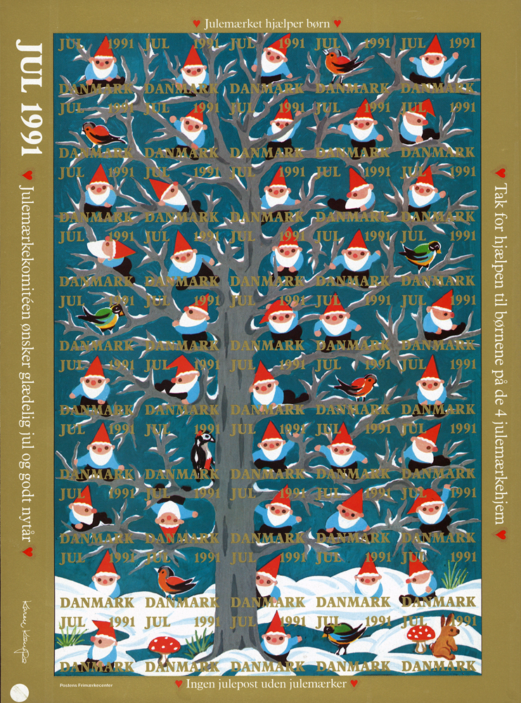 Danmark juleark 1991 utakket