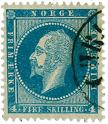 Norway 1856-57 - AFA no. 4 cancelled