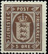 Danmark 1921 - AFA nr. tj18 - Tjenestemærke - 5 øre brun