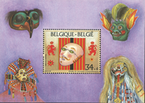 Belgien - Masker - Postfrisk miniark