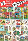 250 forskellige fodbold frimærker i flot pakke