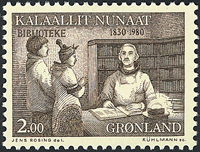 Greenland - 1980. 150th Anniversary of Public Libraries - 2,00 kr - Sepia