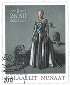 Greenland - Danish Queen 40 years reign - Cancelled stamp