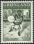Grønland - 1961. Trommedanser - 35 øre - Mørkgrøn