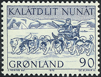 Greenland - 1972. Mail Dog Sledge - 90 øre - Blue