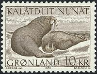 Greenland - 1973. Walruses - 10 kr. - Brown