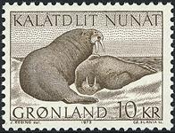 Grønland - 1973. Hvalrosser - 10 kr. - Brun