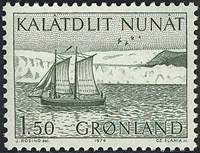Greenland - 1974. The Sailing Longboat  - Karen - 1,50 kr. - Green