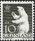 Greenland - 1963-1964 - Polar Bear - 10 kr. - Greenish black