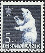 Grønland - 1963-64. Polarbjørn - 5 kr. - Blå