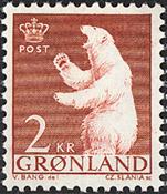 Grønland - 1963-64. Polarbjørn - 2 kr. - Rød