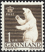 Greenland - 1963-1964 - Polar Bear - 1 kr. - Brown