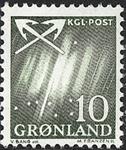 Grønland - 1963-1964. Nordlys - 10 øre - Grøn