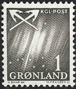 Greenland - 1963-1964. Northern Lights - 1 øre - Greenish Lights