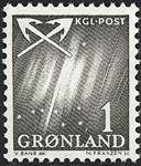 Grønland - 1963-1964. Nordlys - 1 øre - Grønsort