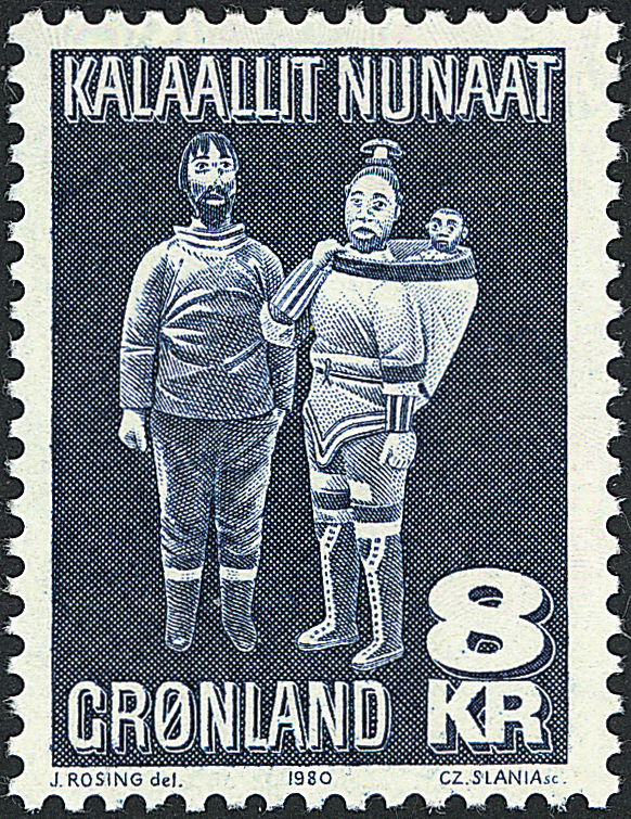 Grønland - 1980. Træfigurer - 8 kr. - Blå