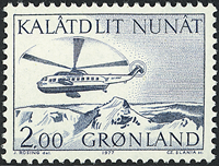 Greenland - 1977. Helicopter - 2,00 kr. - Blue