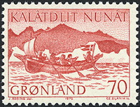 Greenland - 1972. Woman´s Boat - 70 øre - Red