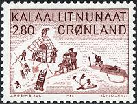 Grønland - 1986. Thuleliv - 2,80 kr. - Rødbrun