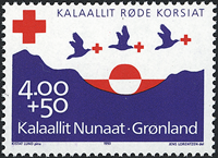 Greenland - 1993. The Red Cross - 4,00+0,50 kr - Violet / Red