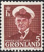 Grønland - Kong Frederik IX - 5 øre - Vinrød