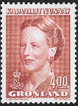 Grønland - Dronning Margrethe II - 4,00 kr. - Rød