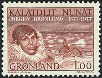 Grønland - 1977. 100 året for Jørgen Brønlund - 1 kr. - Rødbrun