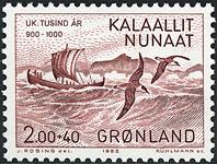Grønland - 1000-års serien I. Erik den Røde - 2,00+0,40 kr. - Rødbrun