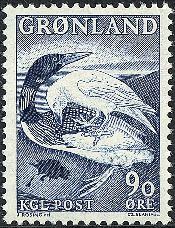 Grønland - 1967. *Islommen og Ravnen* - 90 øre - Blå