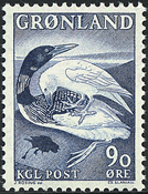 Greenland - 1967. The Great Northern Diver and the  Raven - 90 øre - Blue