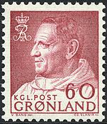 Greenland - King Frederik IX - Dressed in Anorak -  60 øre - Reddish purple