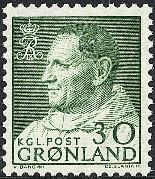 Grønland - Kong Frederik IX i anorak - 30 øre - Grøn