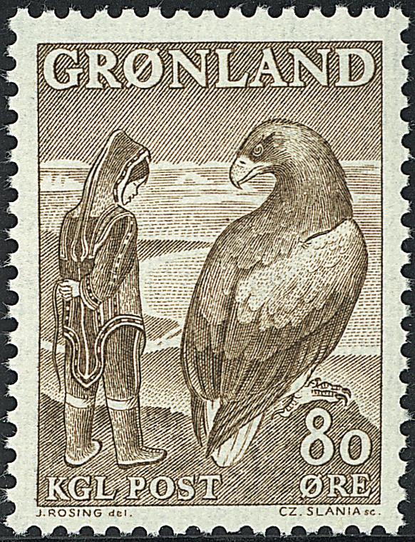 Grønland - 1969. Pigen og Ørnen - 80 øre - Brun