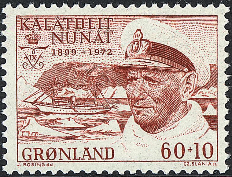 Grønland - 1972. Kong frederik IX mindeudgave - 60  + 10 øre - Rød