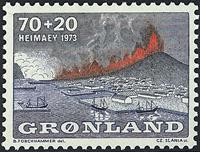 Grønland - Vulkanudbruddet på øen Heimaey - 70 + 20 øre - Blå / Grå / Rød
