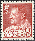 Greenland - King Frederik IX - Dressed in Anorak -  50 øre - Red