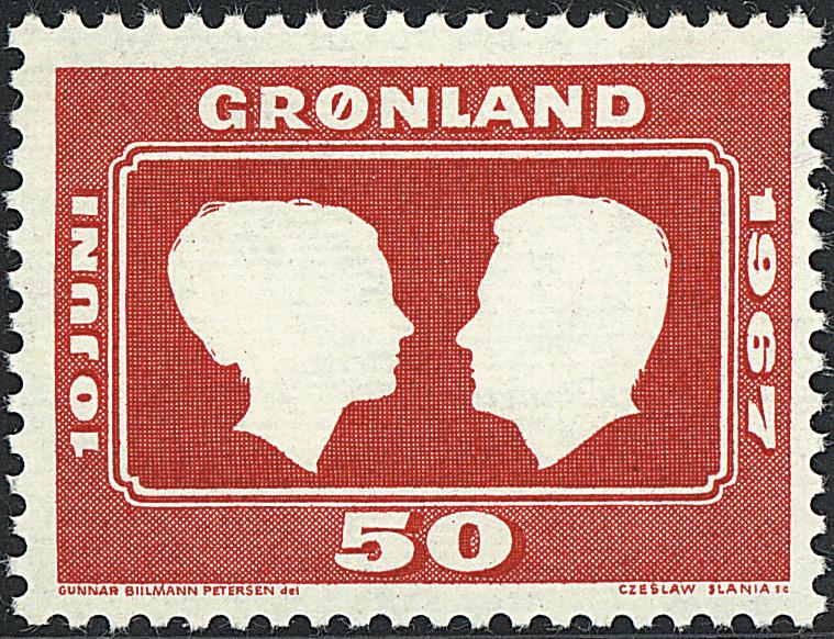 Grønland - 1967. Prinsesse Margrethe og grev Henris bryllup - 50 øre - Rød