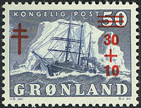 Greenland - The Polar Ship of Gustav Holm - 30-10/50 øre - Blue