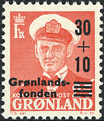 Greenland - King Frederik IX - 30-10/25 øre - Red / Black overprint