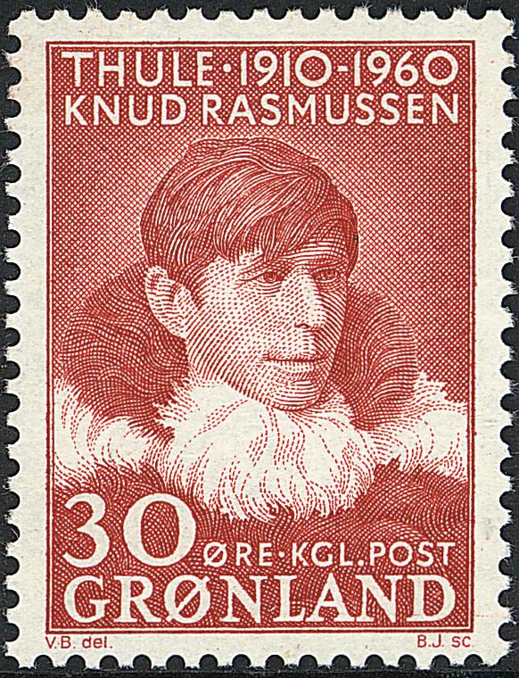 Grønland - 1960. Knud Rasmussen - 30 øre - Rød
