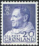 Greenland - King Frederik IX Dressed in Anorak - 20 øre - Blue