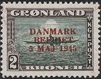 Greenland . Denmark Liberated - 2 kr. - Dark brown/green - Red overprint