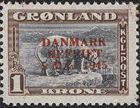 Greenland - Denmark Liberated - 1 kr. - Brown/grey  - Red overprint