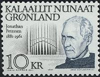 Grønland - 1991. Jonathan Petersen og Hans Lynge -  10 kr. - Blågrå / Sort
