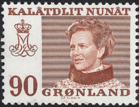 Greenland - Queen Margrethe II - 90 øre - Brownish  red