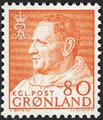 Greenland - King Frederik IX - Dressed in Anorak -  80 øre - Orange yellow